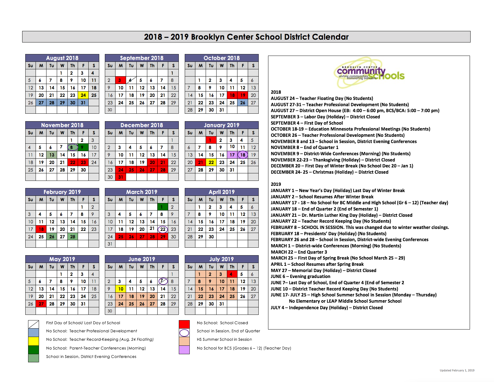 Calendar Page Image February 1 2019 Early Learning / Calendar