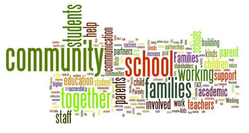 Collage Of Words including Families, Schools and Communities