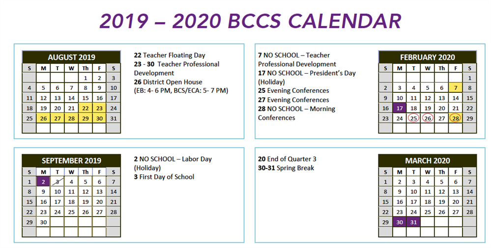 Calendar for the 2019-2020 school year