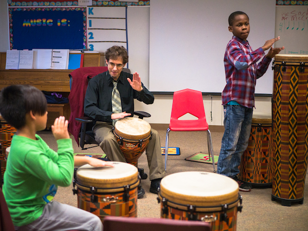 Students in the African drum class