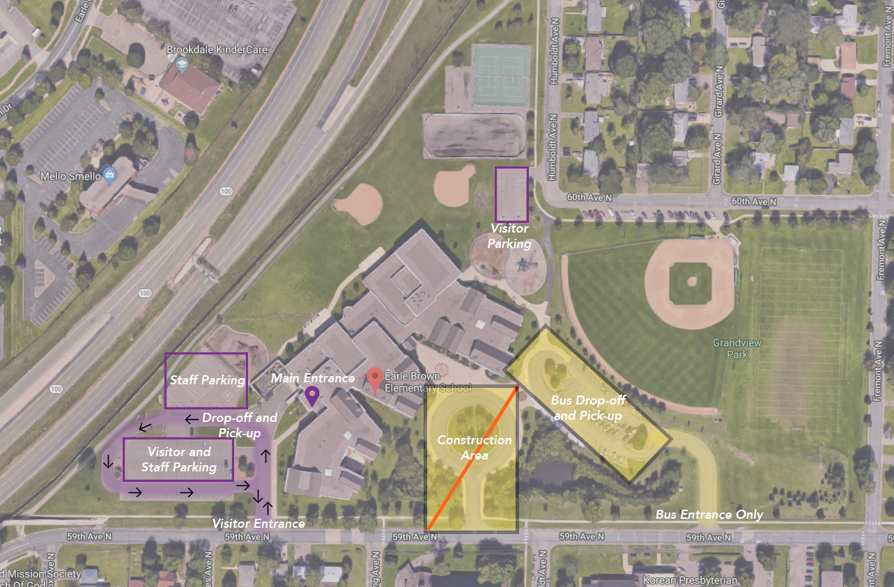 Parking lot changes at Earle Brown